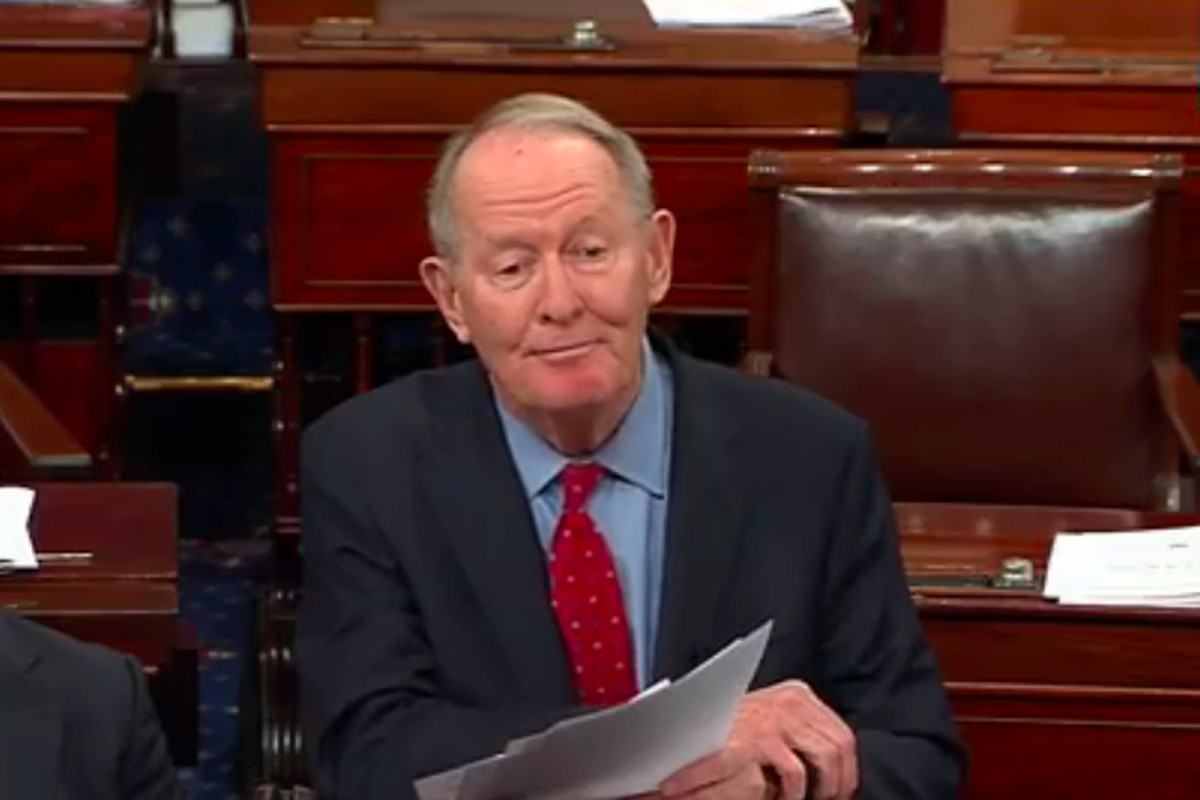 U.S. Sen. Lamar Alexander of Tennessee speaks to the U.S. Senate just minutes before the vote that confirmed the nomination of Betsy DeVos as U.S. secretary of education.