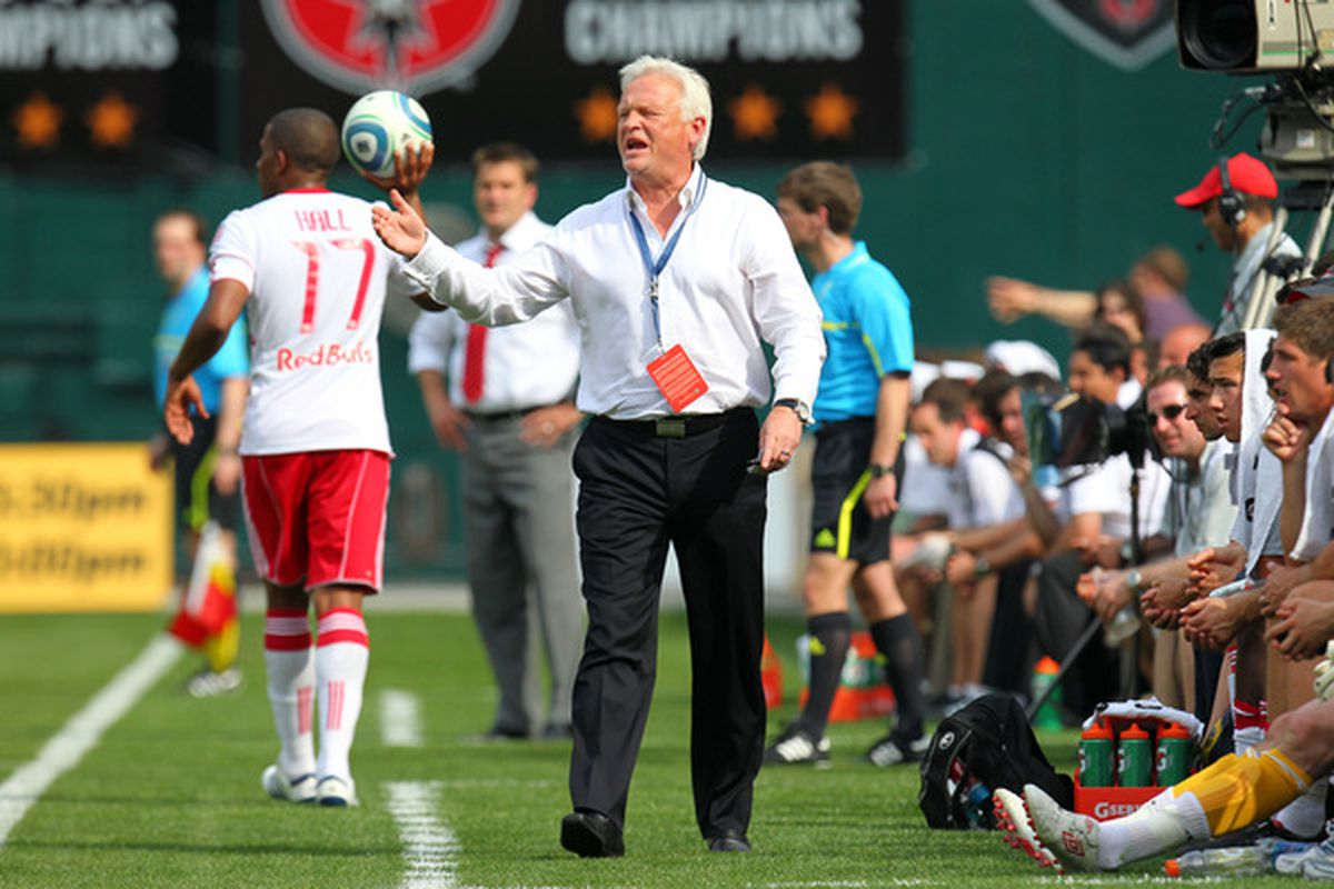 WASHINGTON - MAY 1:  Head coach Hans Backe of New York Red Bulls yells toward the field against D.C. United at RFK Stadium on May 1, 2010 in Washington, DC. (Photo by Ned Dishman/Getty Images)
