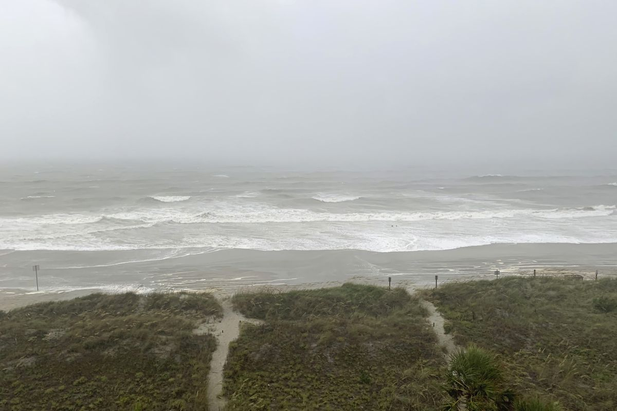 Bands of wind and rain from Hurricane Isaias make it to North Myrtle Beach, S. C., Monday, Aug. 3, 2020. The storm is expected to make landfall along the Carolina coast late Monday evening.