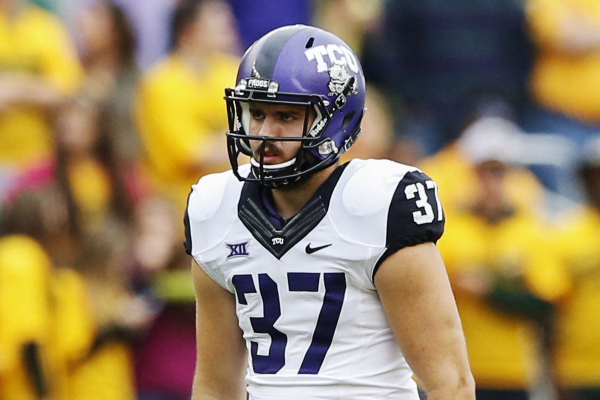 TCU punter Ethan Perry has got the game face going.