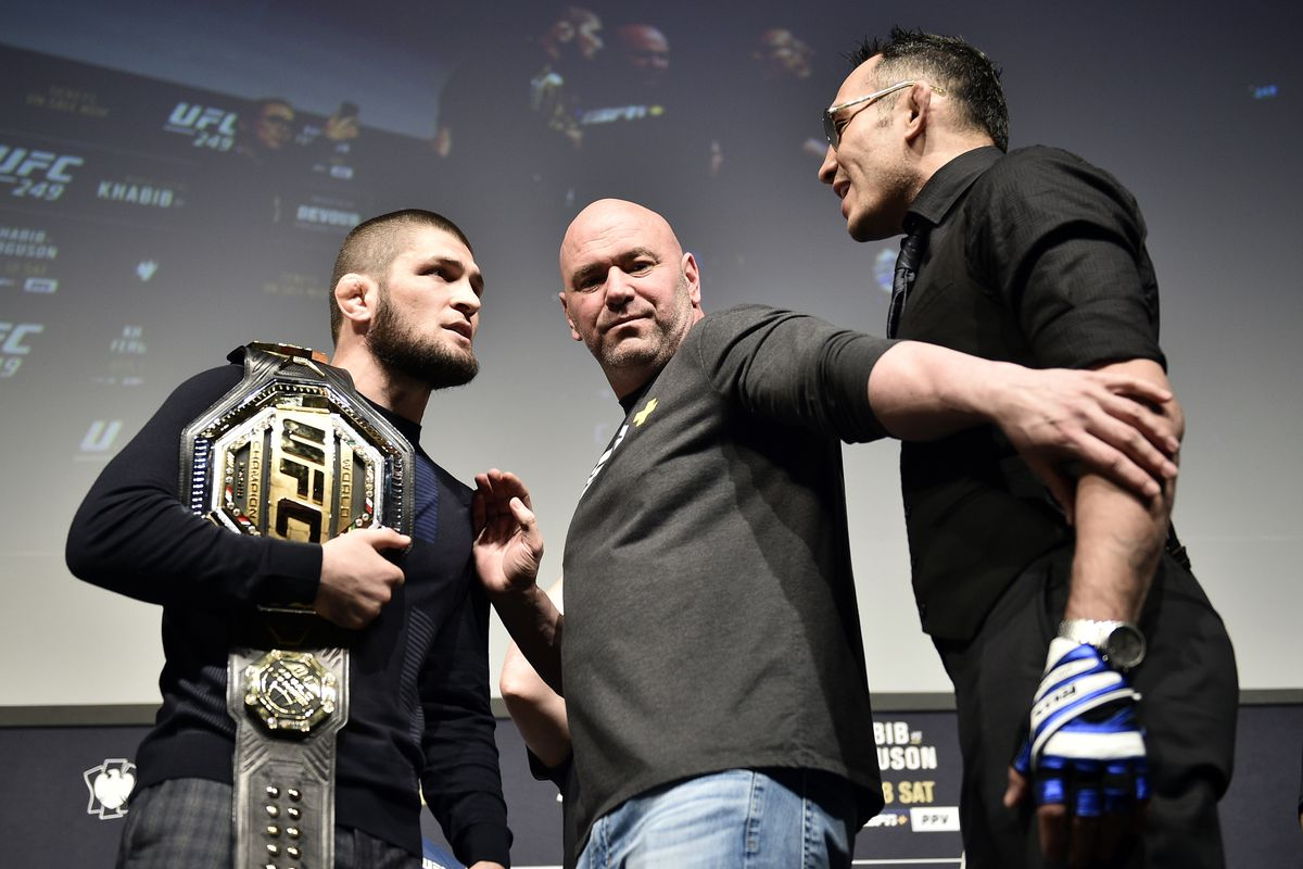 Opponents Khabib Nurmagomedov and Tony Ferguson face off during the UFC 249 press conference at T-Mobile Arena on March 06, 2020 in Las Vegas, Nevada.