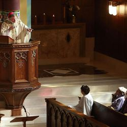 The Most Reverend John C. Wester speaks during Easter Mass at the Cathedral of the Madeleine Sunday, April 8, 2012 in Salt Lake City.