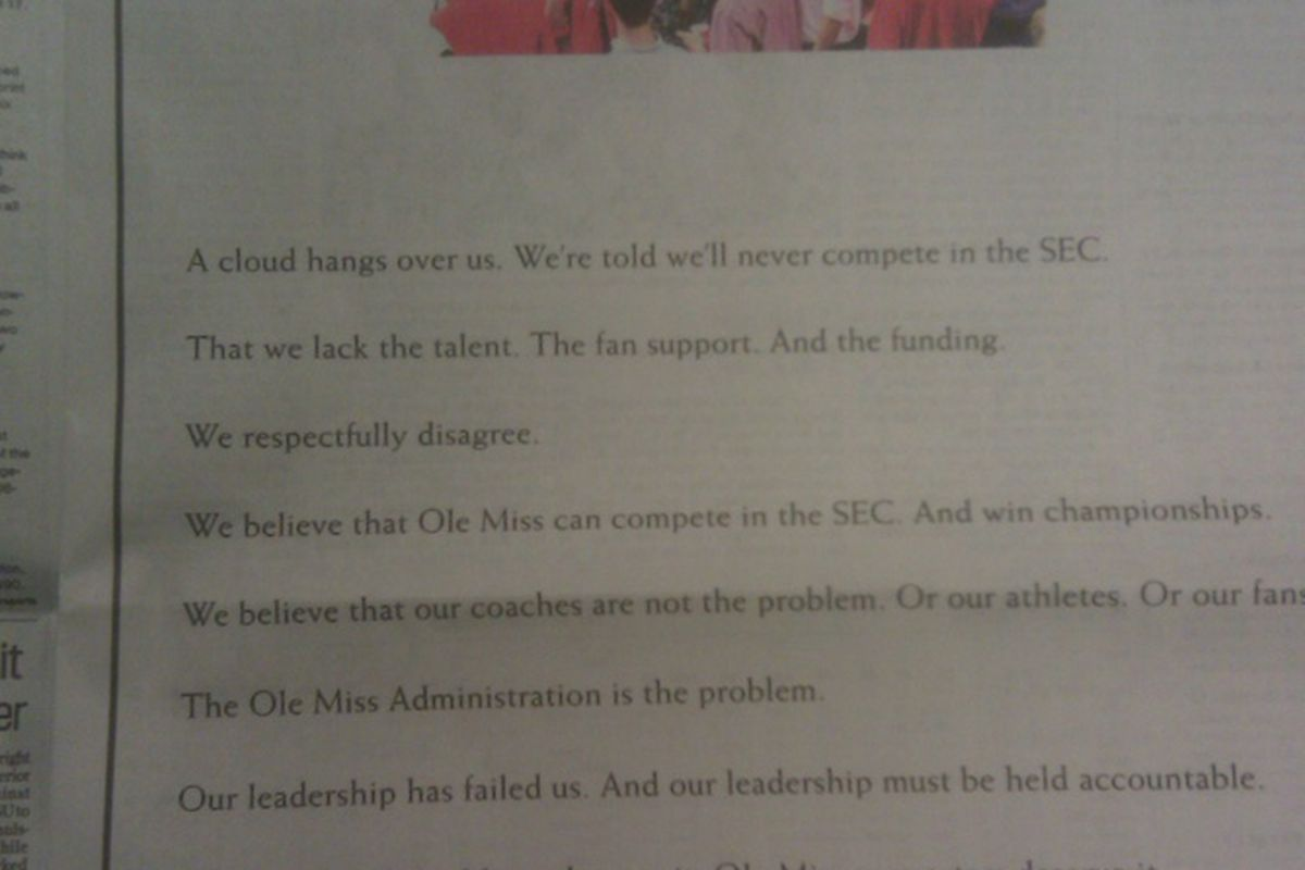 The Forward Rebels advertisement in todays Clarion Ledger.