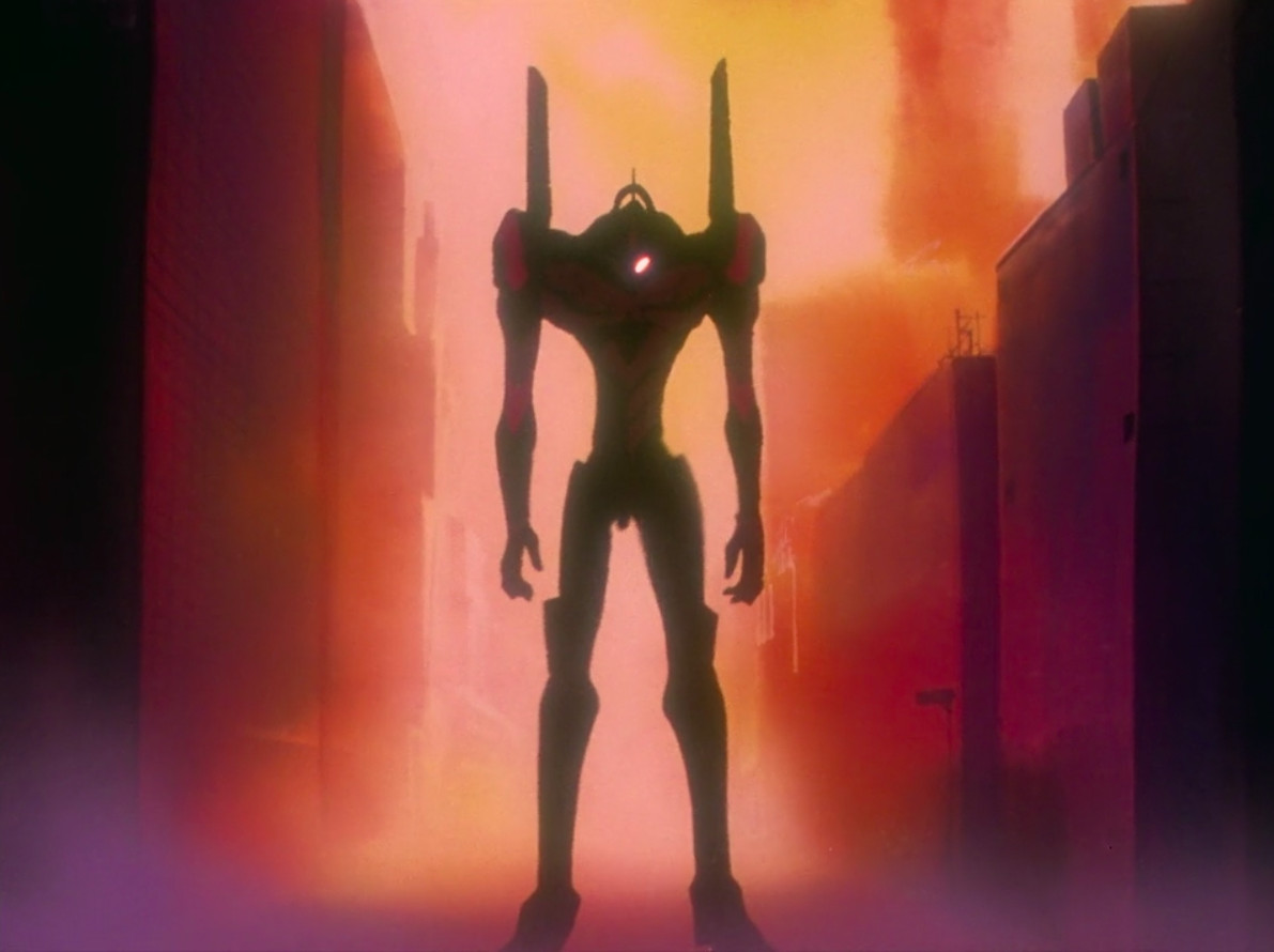 Eva Unit-01 in silhouette in front of a sunset.