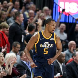 Utah Jazz fans cheer after guard Rodney Hood (5) hit a three during the game against the Cleveland Cavaliers at Vivint Arena in Salt Lake City on Saturday, Dec. 30, 2017.
