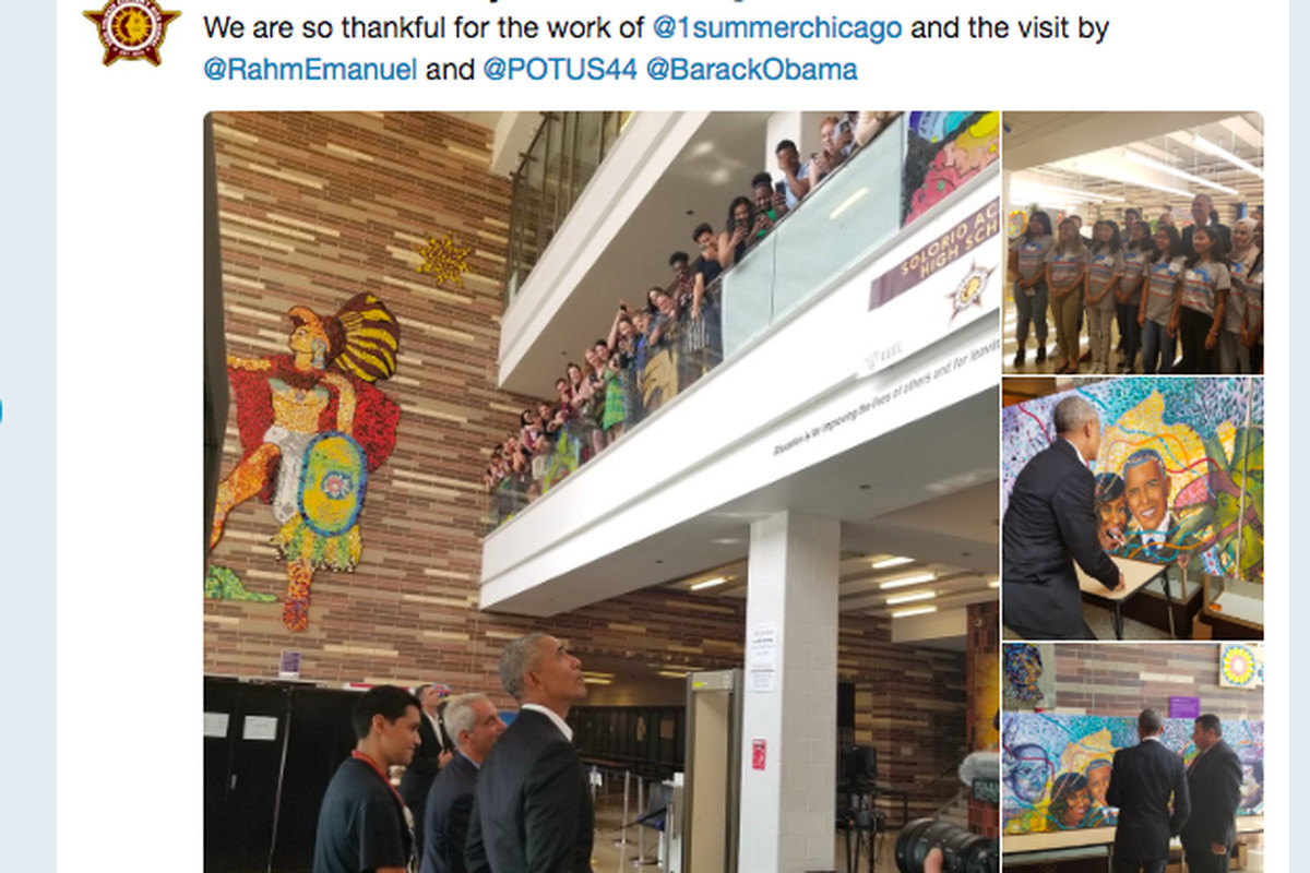 Chicago's Eric Solorio Academy tweeted about the visit of Mayor Rahm Emanuel and former President Barack Obama.