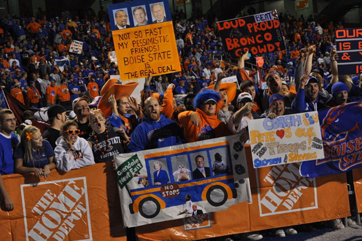 Boise State fans hold signs and cheer at an ESPN College Gameday broadcast prior to the Boise State - Oregon State game. (photo via KTVB)