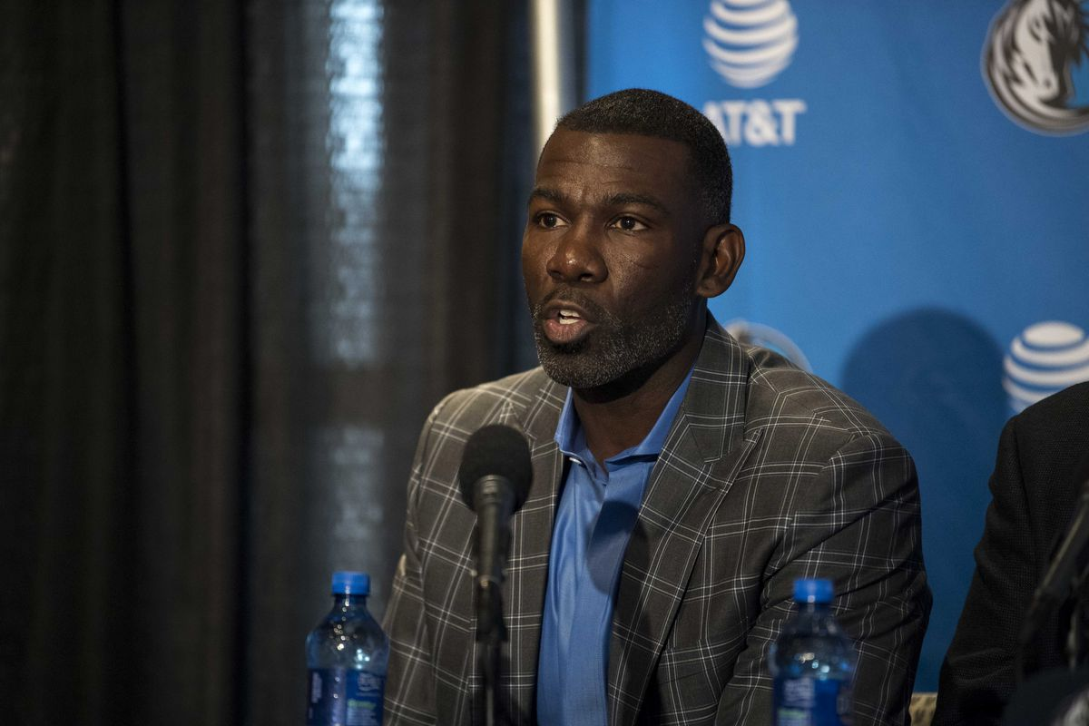 Dallas Mavericks assistant vice president Michael Finley answers questions during a press conference at the American Airlines Center.