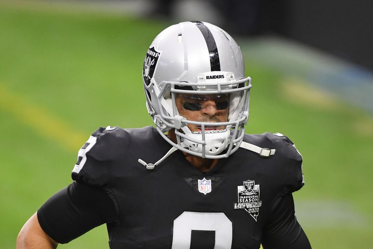 Quarterback Marcus Mariota of the Las Vegas Raiders runs on the field during warmups before a game against the Indianapolis Colts at Allegiant Stadium on December 13, 2020 in Las Vegas, Nevada. The Colts defeated the Raiders 44-27.