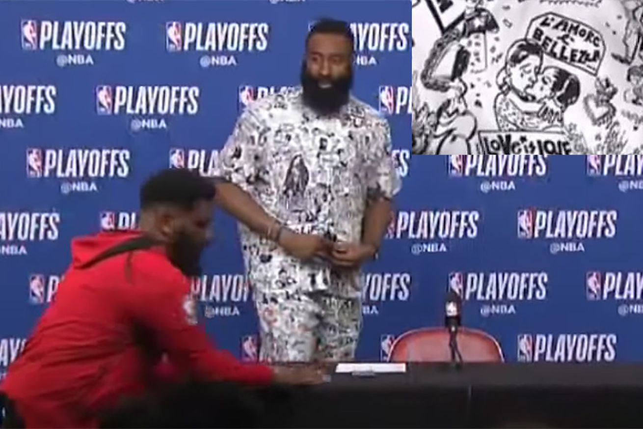 We love what James Harden wore to his NBA playoff postgame #LoveIsLove