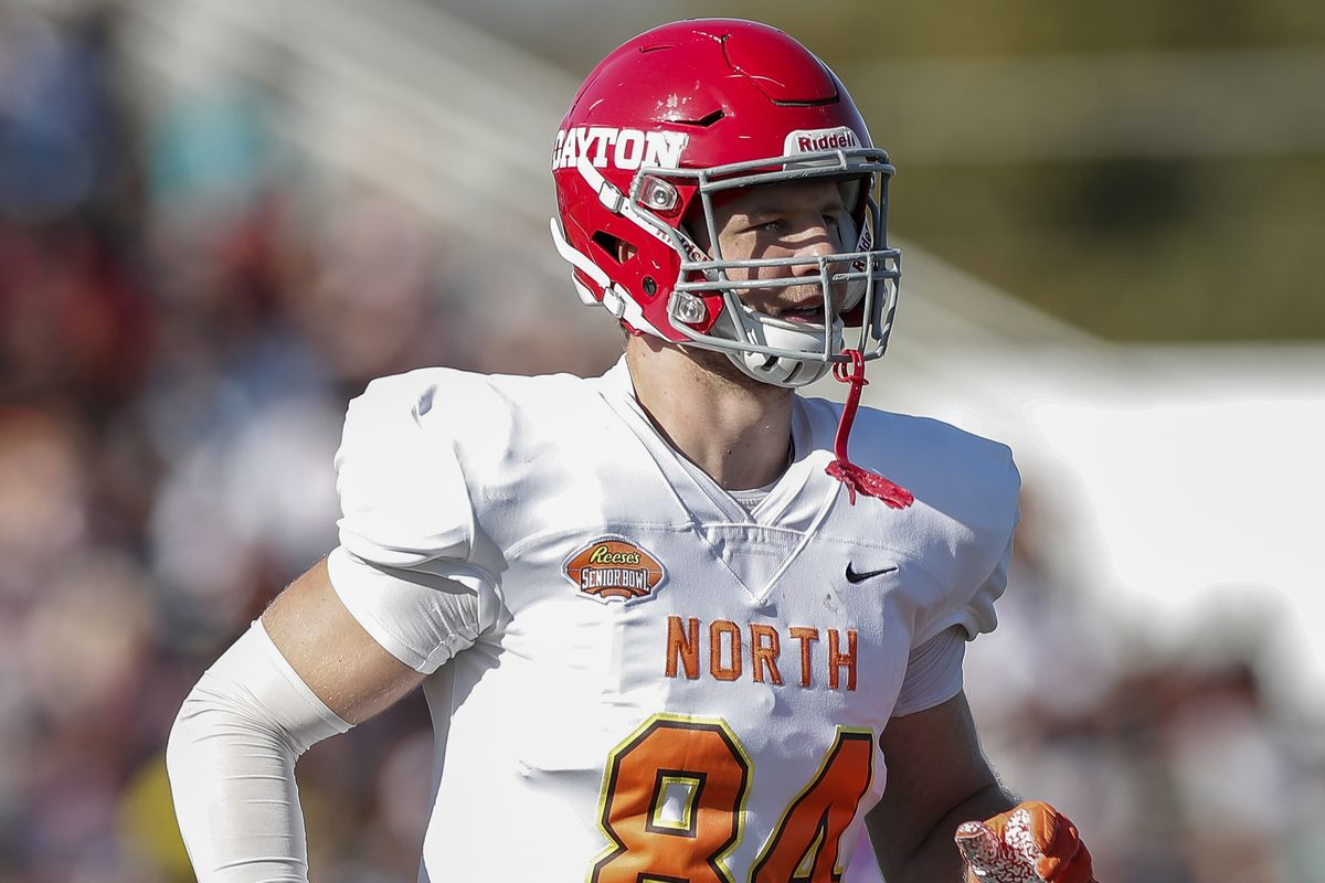 Tight End Adam Trautman #84 from Dayton of the North Team during the 2020 Resse's Senior Bowl at Ladd-Peebles Stadium on January 25, 2020 in Mobile, Alabama. The Noth Team defeated the South Team 34 to 17.
