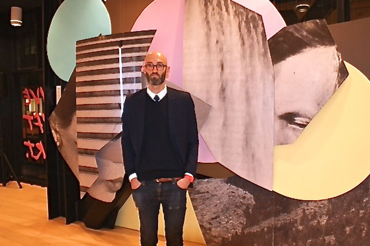 Mario Wagner with his installation at the Art.com Pop Up in Union Square.