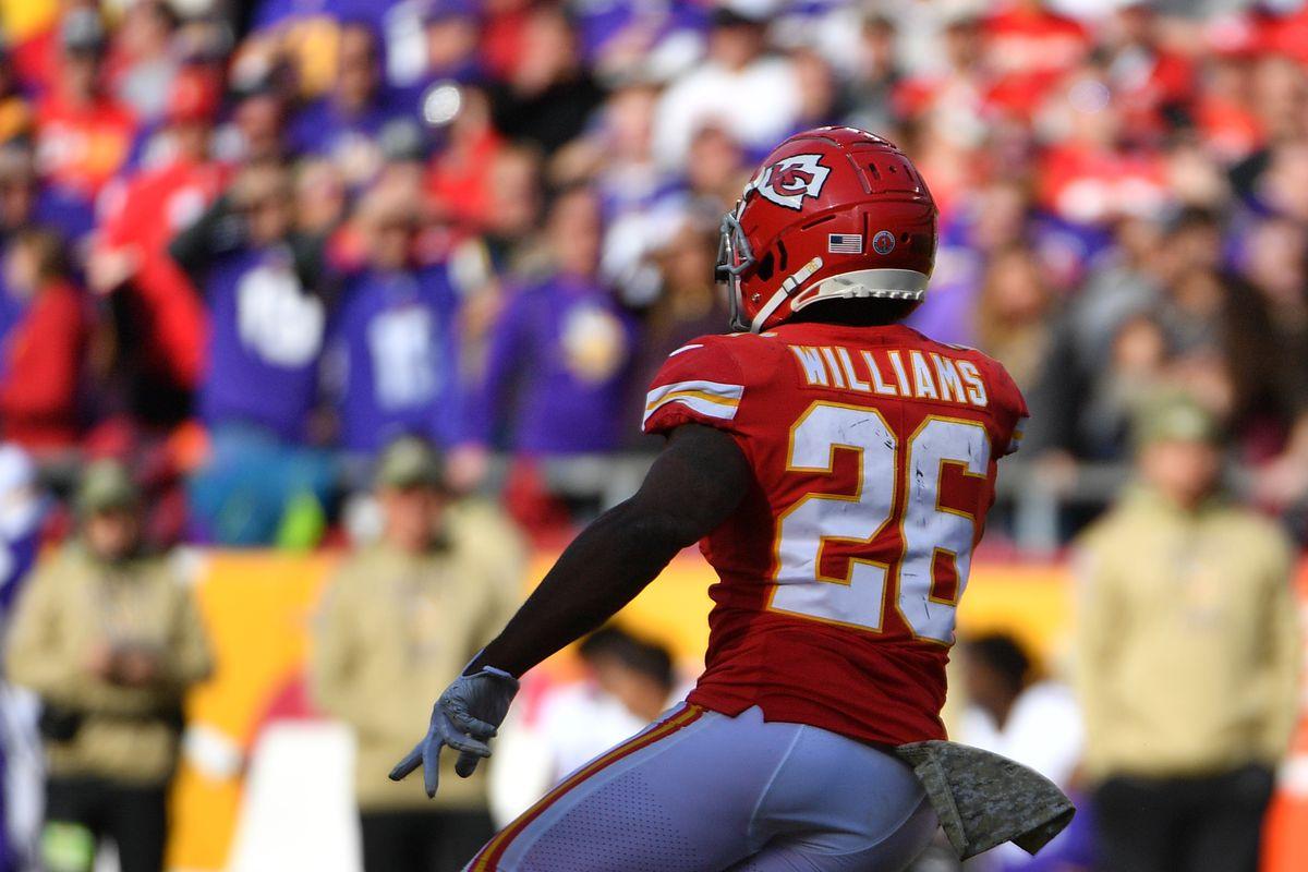 Kansas City Chiefs running back Damien Williams runs for a long touchdown during the second half against the Minnesota Vikings at Arrowhead Stadium.