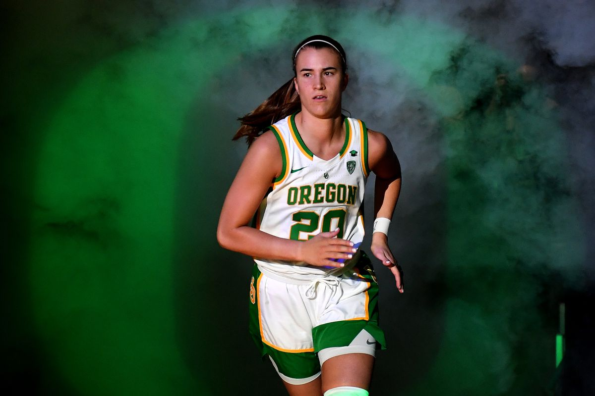 Sabrina Ionescu of the Oregon Ducks is introduced before the championship game of the Pac-12 Conference women's basketball tournament against the Stanford Cardinal at the Mandalay Bay Events Center on March 8, 2020 in Las Vegas, Nevada. The Ducks defeated the Cardinal 89-56.