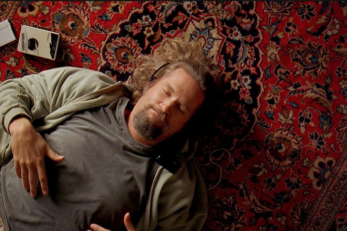Jeff Bridges lying down on the floor in 'The Big Lebowski'
