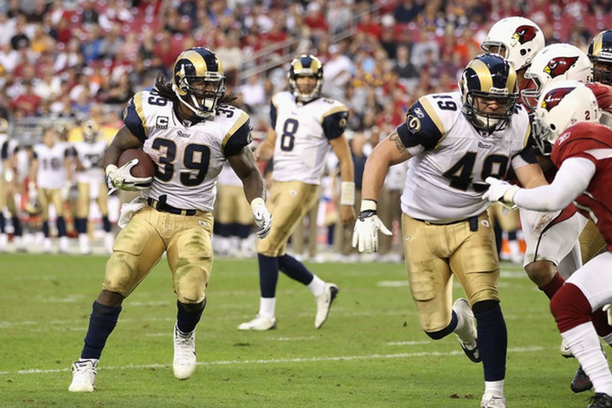 Steven Jackson and Sam Bradford march their troops into New Orleans Sunday with not a whole lot to lose, but a WHOLE lot to gain. (Photo by Christian Petersen/Getty Images)