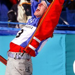 USA's Shannon Bahrke celebrates after her final women's mogul run at Deer Valley during the Salt Lake Winter Games on Feb. 9, 2002. Bahrke claimed the silver medal.