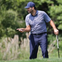 Tony Romo prepares to putt during the final round of the Utah Open in Provo on Sunday, Aug. 22, 2021.