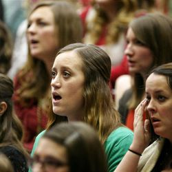 Missionaries sing during the Christmas Morning Devotional at the Missionary Training Center in Provo on Tuesday, Dec. 25, 2012.