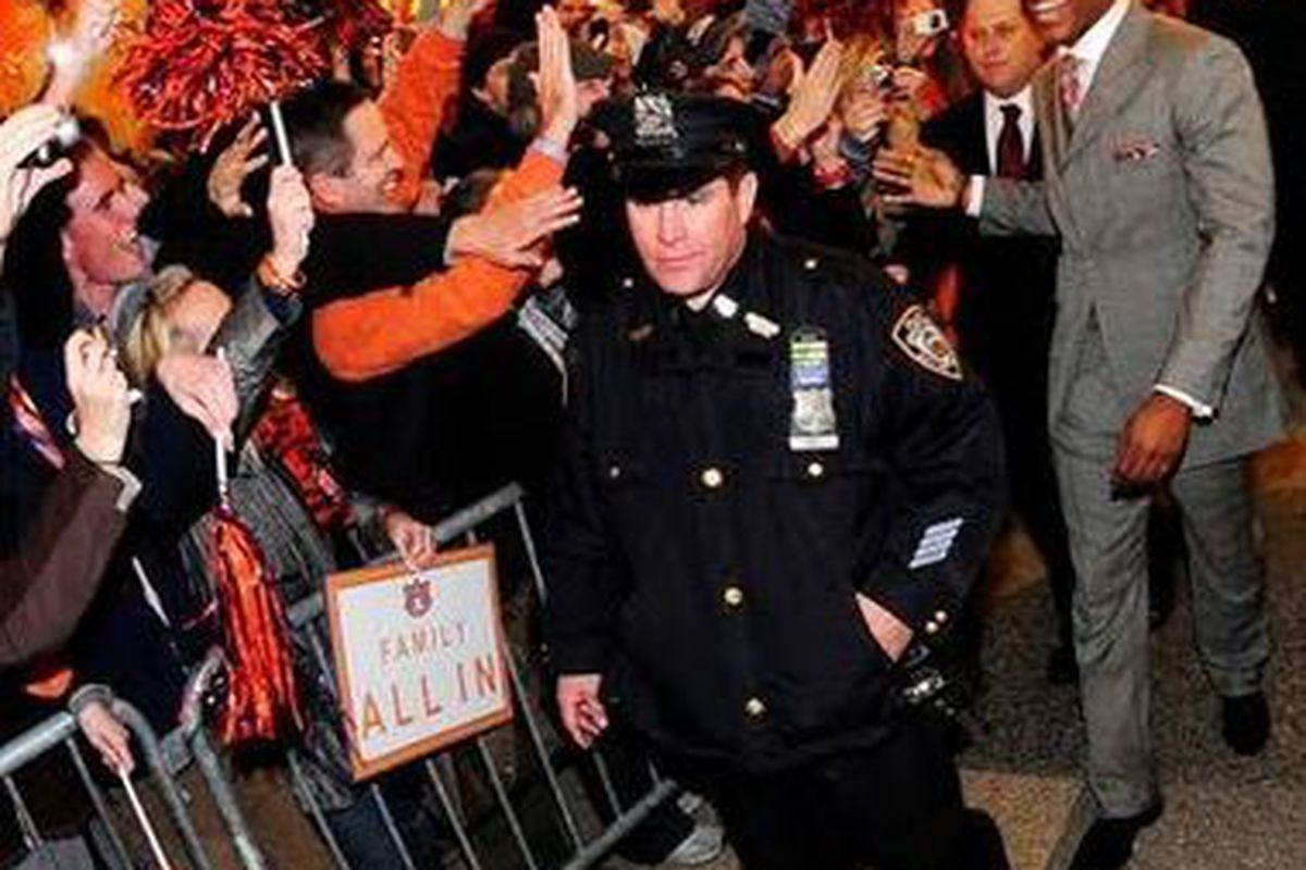 Auburn family members gave Cam Newton and the Auburn contingent a Tiger Walk welcome outside the Heisman Trophy ceremony December 11th, 2010 in New York City. Newton became the third  Auburn player in Auburn history to win the Heisman.