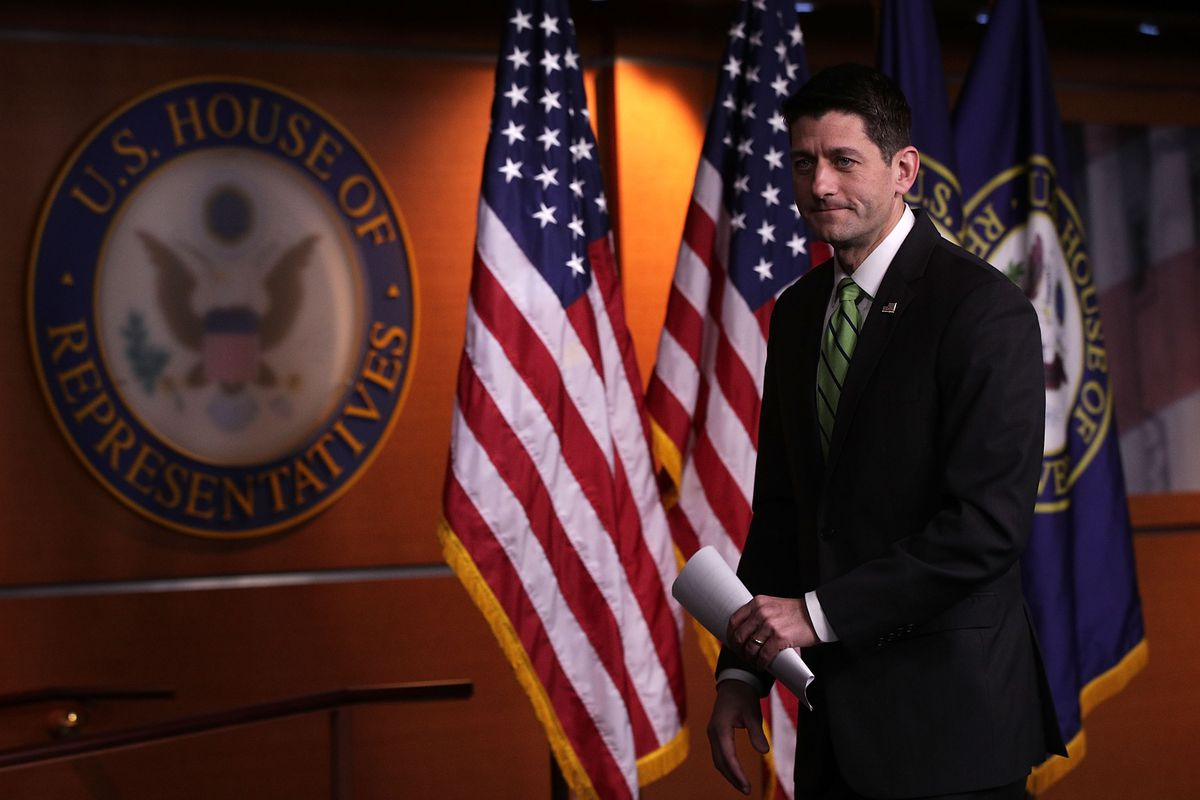 House Speaker Paul Ryan Holds Weekly Press Briefing At The Capitol