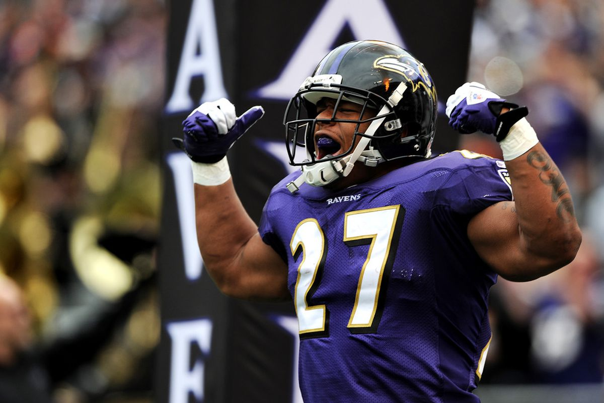 BALTIMORE, MD - NOVEMBER 20: Running back Ray Rice #27 of the Baltimore Ravens is introduced before taking on the Cincinnati Bengals at M&T Bank Stadium on November 20, 2011 in Baltimore, Maryland. (Photo by Patrick Smith/Getty Images)