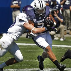 Brigham Young Cougars running back Iona Pritchard (5) during the first half as Brigham Young University plays Weber State University in football  Saturday, Sept. 8, 2012, in Provo, Utah.
