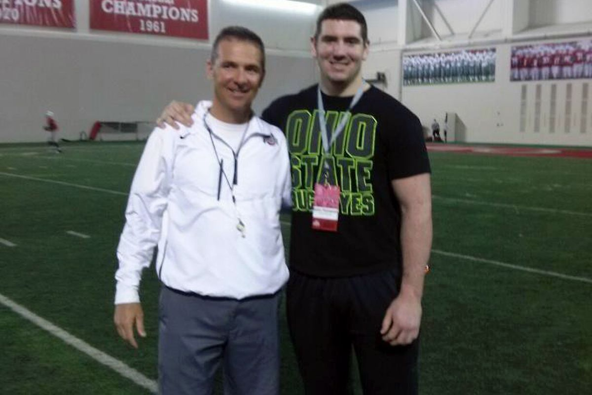 The newest Buckeye and his future head coach, Ohio State's Urban Meyer.
