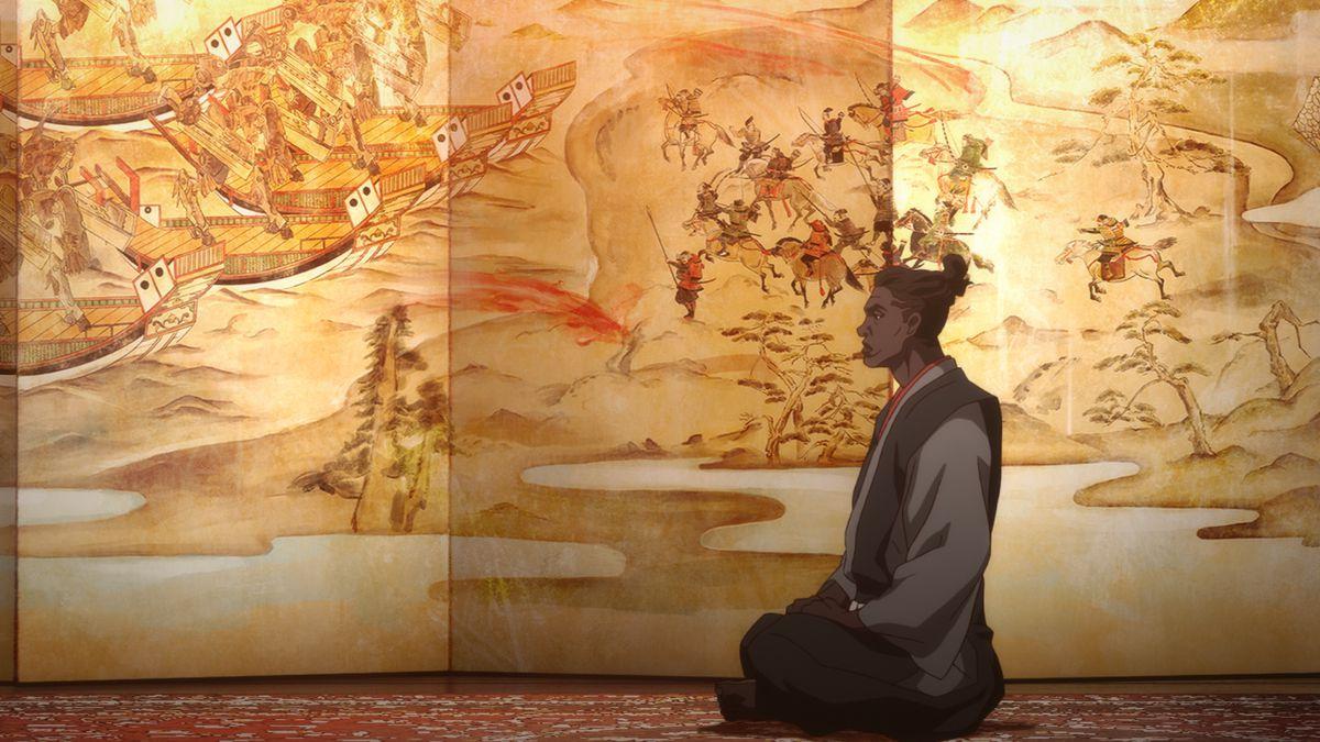 Yasuke sits in robes in front of an elaborate Ukiyo-e backdrop of a fierce battle.