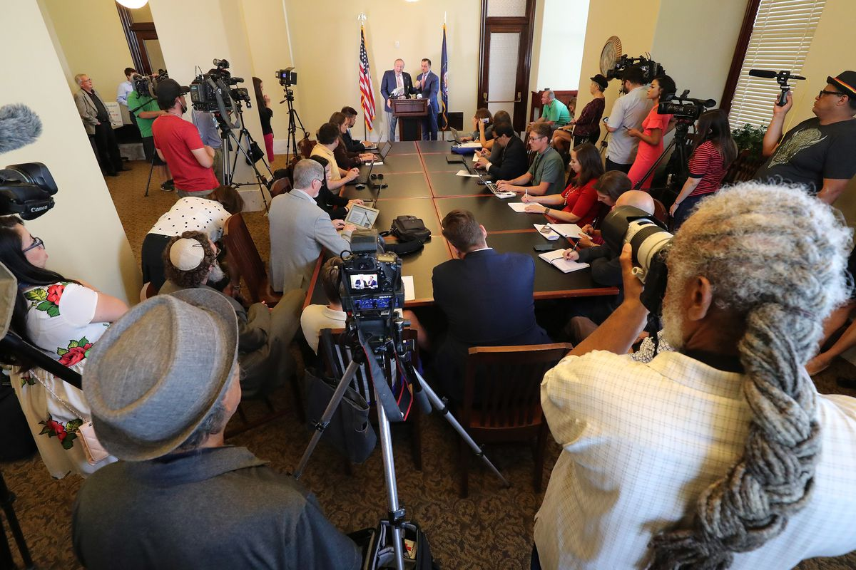 Senator Jim Dabakis and House Speaker Greg Hughes speak at the State Capitol in Salt Lake City on Tuesday, June 5, 2018 during a press conference about SB 234, Utah Inland Port Authority.