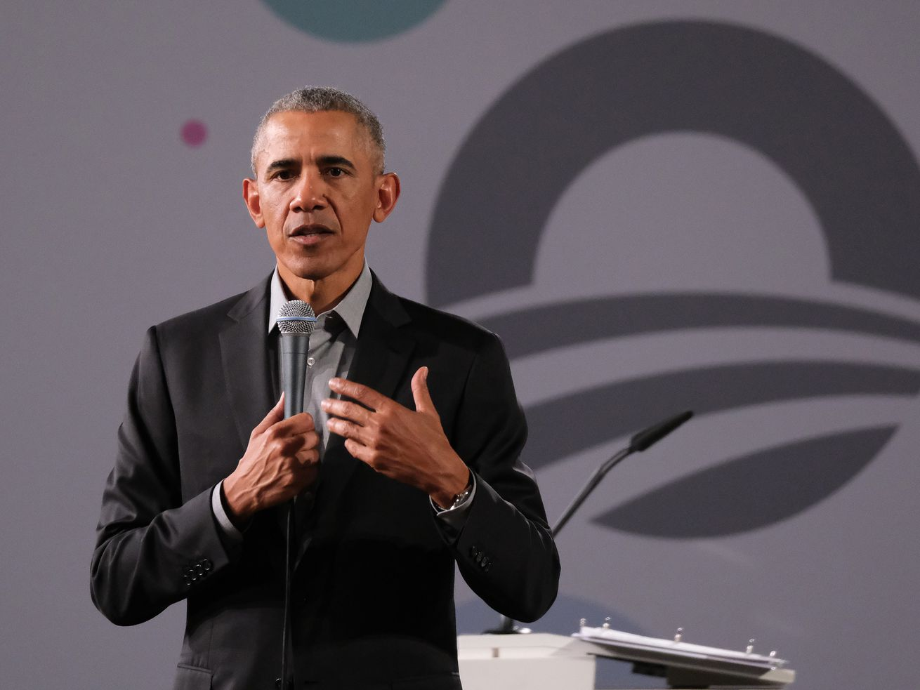 Former President Barack Obama speaks to young leaders from across Europe in a town hall-on Saturday in Berlin, Germany.