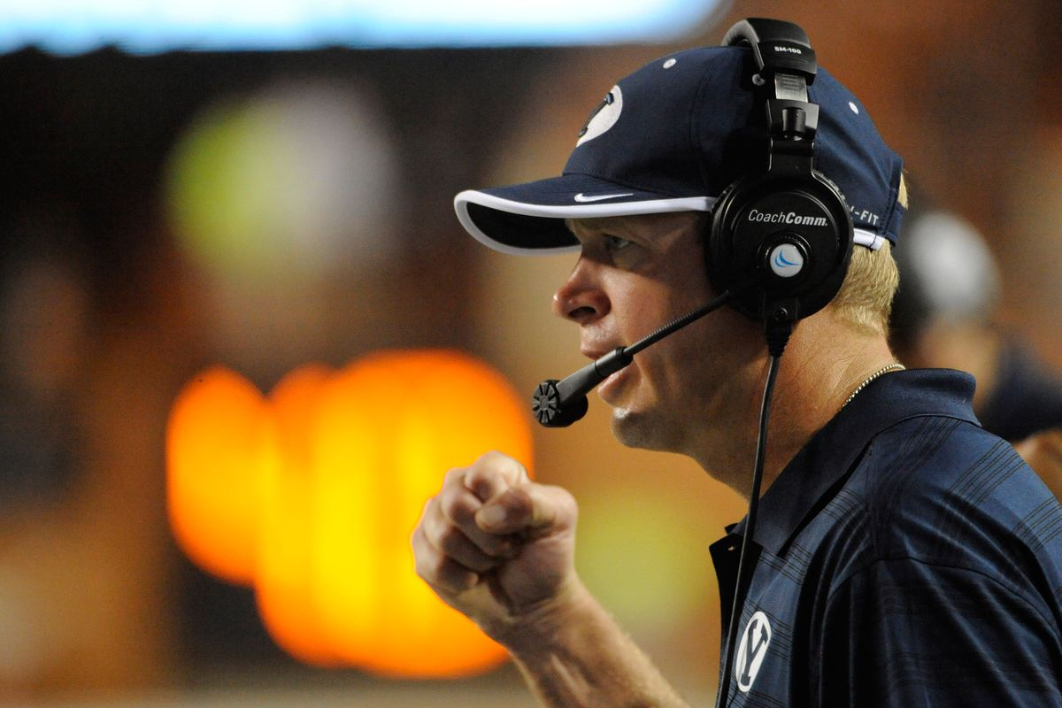 I really want to photoshop an ice cream cone into Bronco Mendenhall's hand.