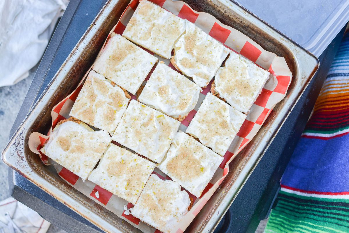 An above shot of ice cream lemon bars in a tray