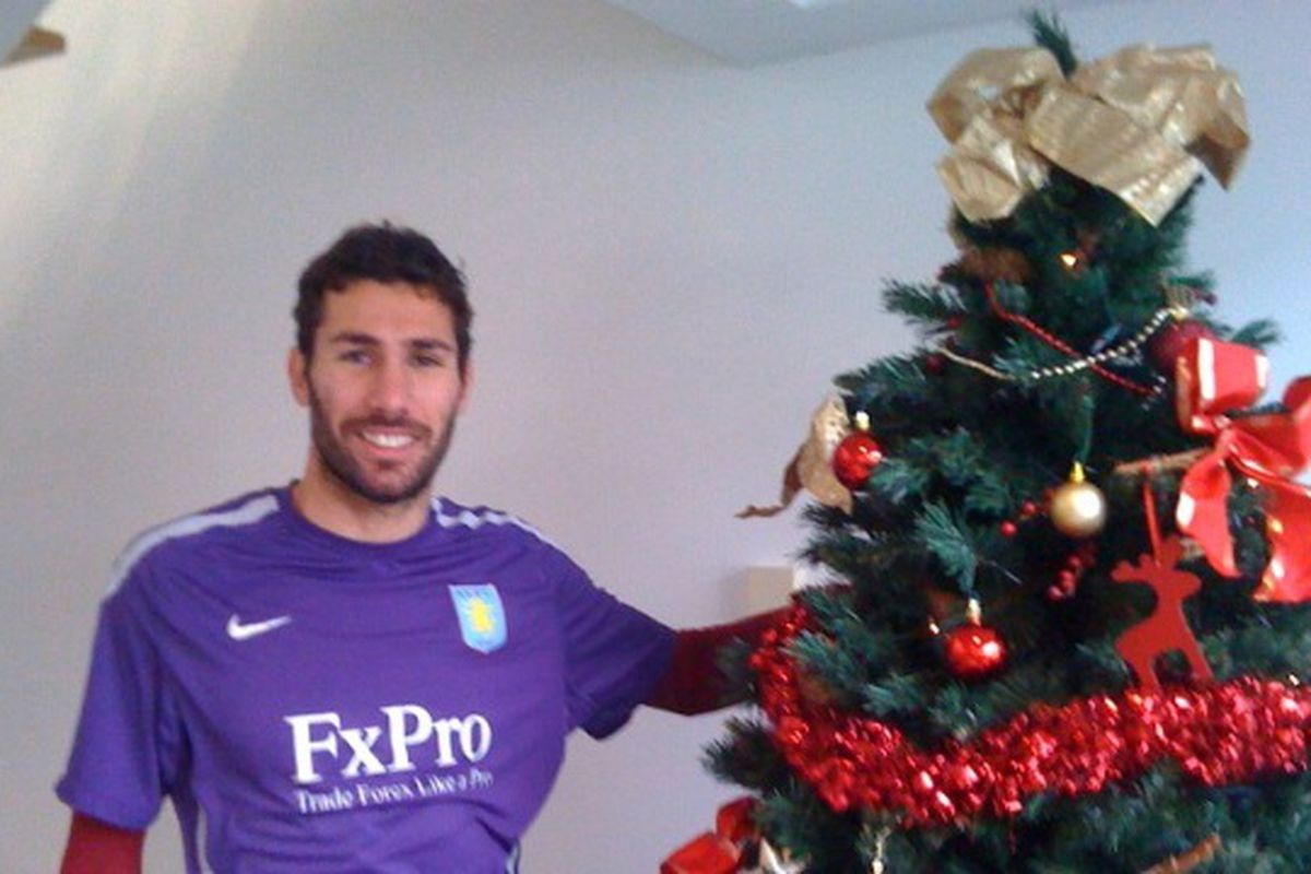 """Even Carlos is in the Christmas spirit! (Image courtesy Claire Boden and the <a href=""""http://www.avfc.co.uk/page/BlogsEntry/0,,10265~2233713,00.html"""" target=""""new"""">Official Site Blog</a>)"""