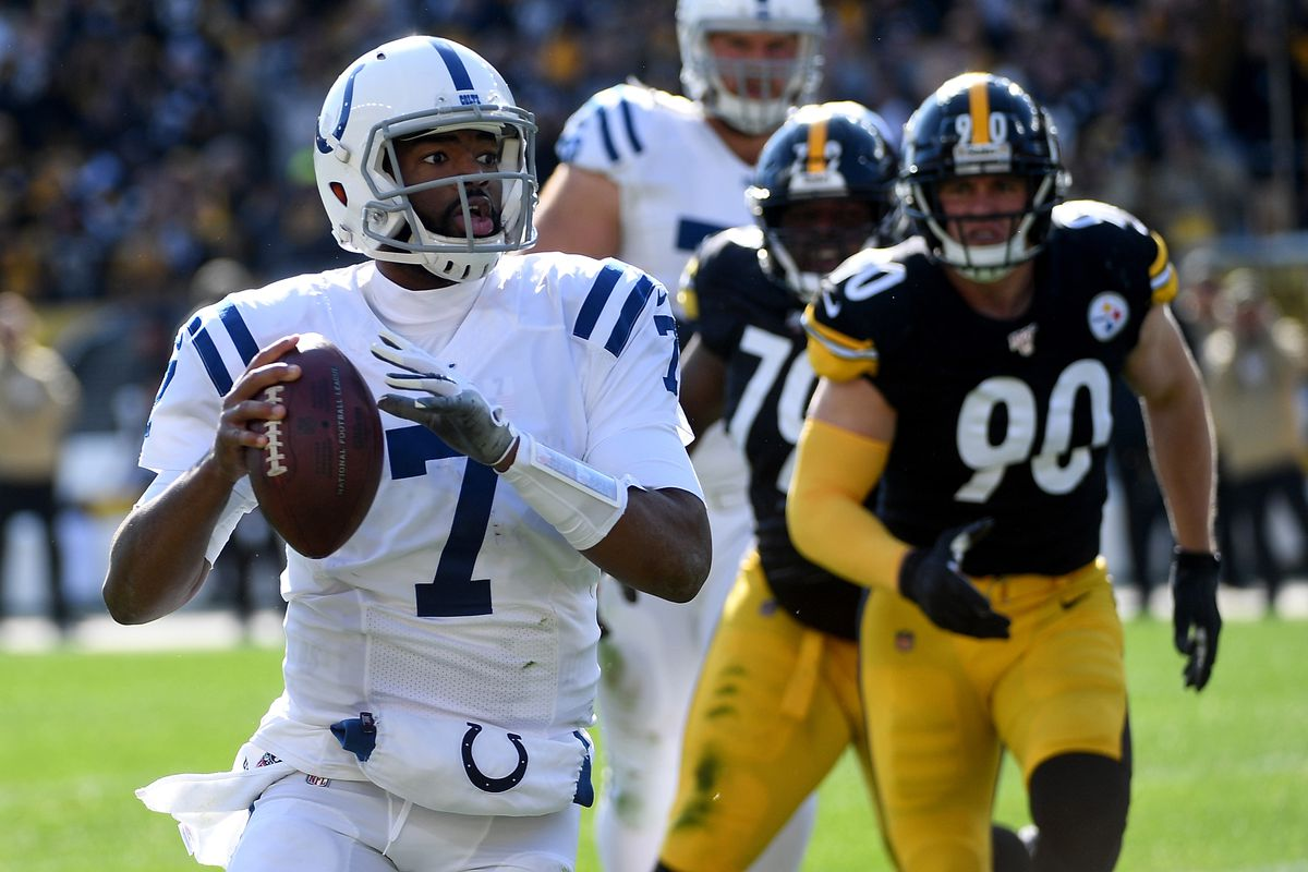 Jacoby Brissett of the Indianapolis Colts looks to pass as he scrambles out of the pocket in the first quarter during the game against the Pittsburgh Steelers at Heinz Field on November 3, 2019 in Pittsburgh, Pennsylvania.