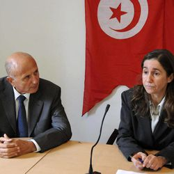 General secretary of the Tunisian PDP opposition party Maya Jeridi, right, and opposition leader and lawyer Ahmed Nejib Chebbi, left, attend a press conference, in Tunis, Wednesday, Jan. 5, 2011. A young man whose self-immolation touched off nearly three weeks of unrest in Tunisia has died in a burn ward, his supporters said Wednesday.