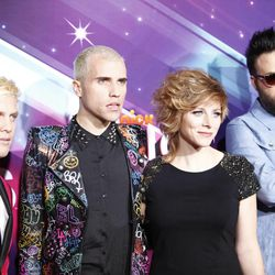 """Chris Allen, Tyler Glenn, Elaine Bradley and Branden Campbell of the band Neon Trees arrive at the TeenNick HALO Awards at the Hollywood Palladium on Saturday, Nov. 17, 2012, in Los Angeles. Bradley recently released her own """"I'm a Mormon"""" video."""