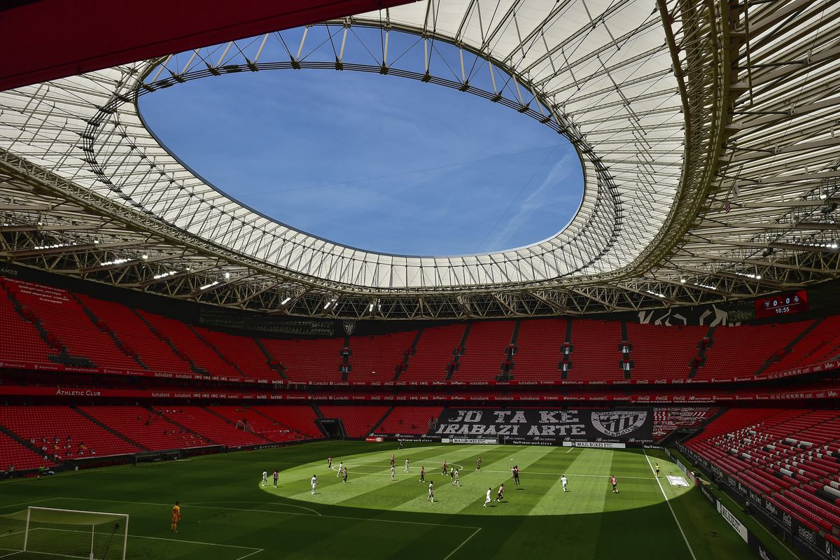 Athletic Club and Real Madrid play during their Spanish La Liga soccer match at the San Manes stadium, which is nearly empty, in Bilbao, Spain, on July 5, 2020.