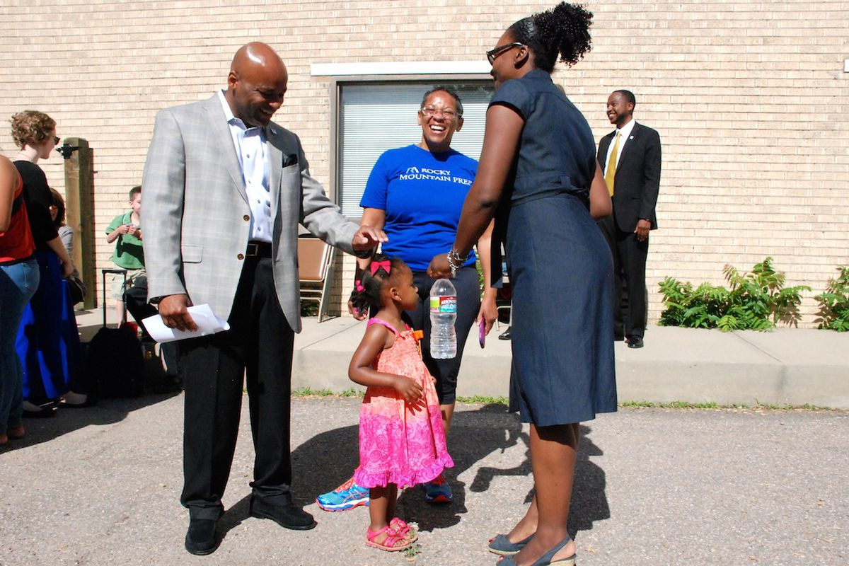 Denver Mayor Michael Hancock met with preschool families in 2014 before announcing his support for a tax increase for the Denver Preschool Program.
