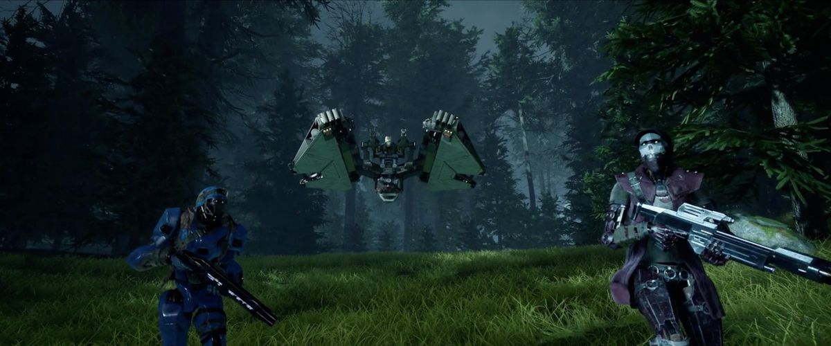 Disintegration screenshot showing a squad of integrated robots on patrol