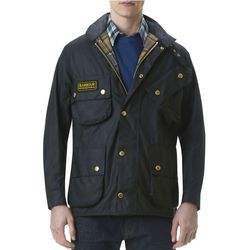 """<b>For the dad with champagne taste:</b> Barbour's <a href=""""http://www.barbour.com/All-Collections/Mens/Waxed-Jackets/International-Original-Waxed-Jacket/p/MWX0004BK5130"""">International Original Waxed Jacket</a> scoffs in the face of foul weather with weat"""