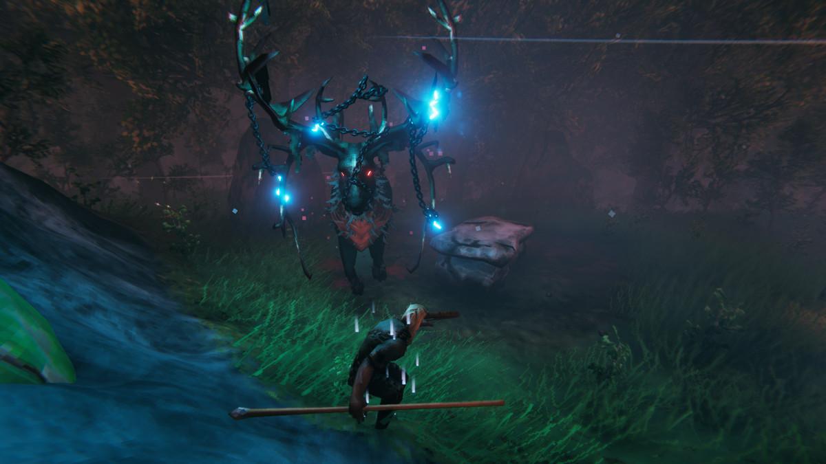 The boss fight with Eikthyr in Valheim