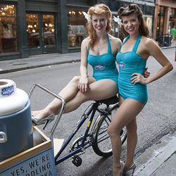 These 50's style pin up peddlers greeted guests on the street outside the Hotel Monteleone with samples of Deep Eddy vodka.