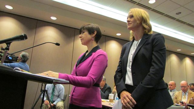 Attorney Kristie Anderson, left, representing State Superintendent Glenda Ritz and the Indiana Department of Education, debated with Michelle McKeown, right, an attorney for Gov. Mike Pence's new Center for Education and Career Innovation, before the Indiana State Board of Education Friday.