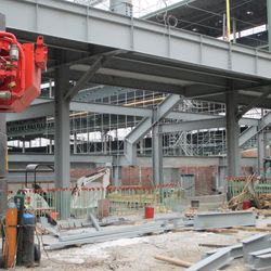 A view of the third base grandstand from under the left field bleachers -