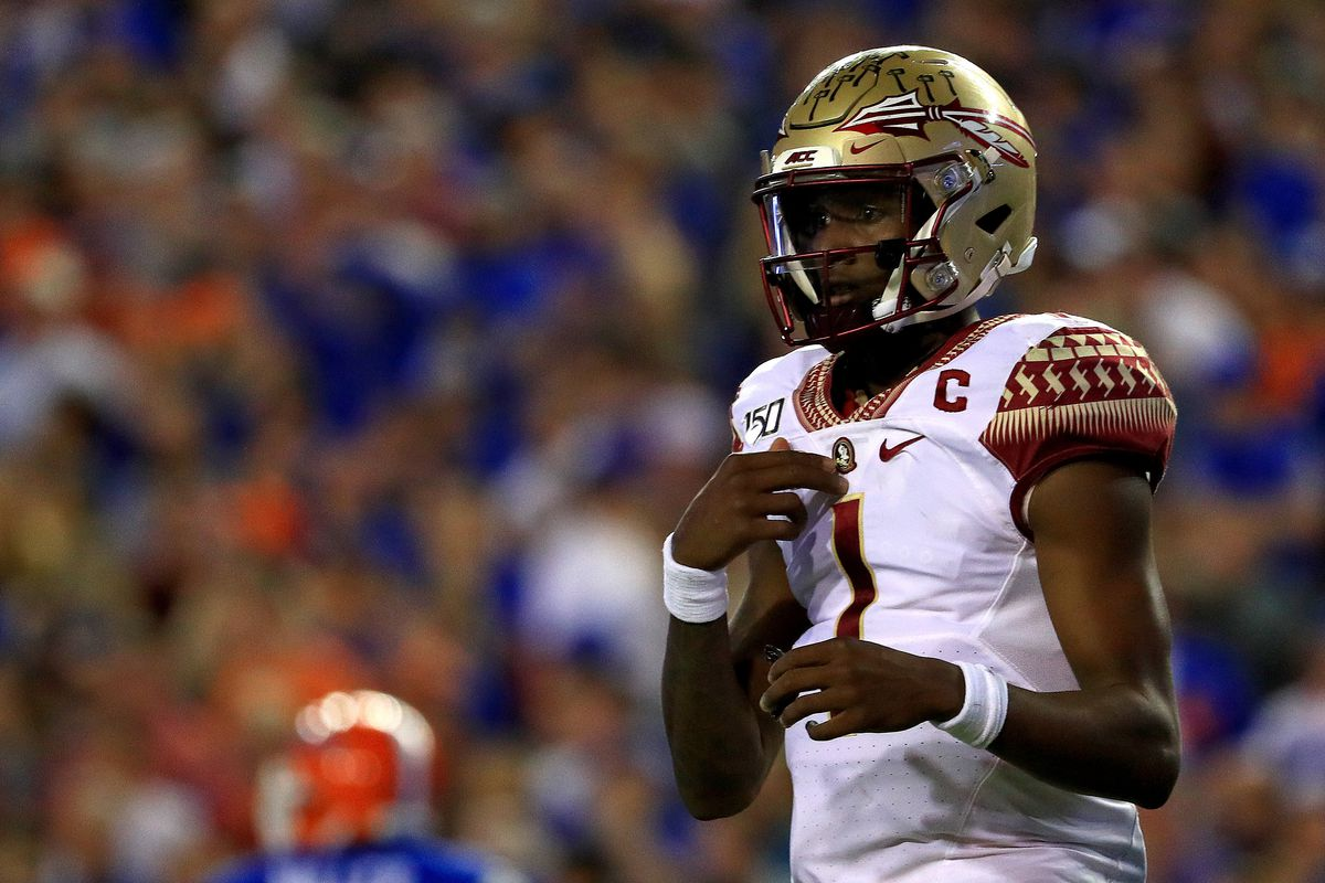 James Blackman of the Florida State Seminoles looks on during a game against the Florida Gators at Ben Hill Griffin Stadium on November 30, 2019 in Gainesville, Florida.