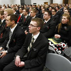 Missionaries sing during a large group meeting on their first day at the Provo Missionary Training Center of The Church of Jesus Christ of Latter-day Saints in Provo, Utah, Wednesday, Feb. 2, 2011.