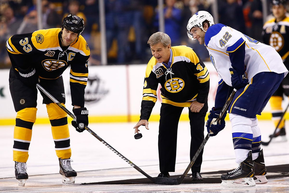 It is a lot like dropping the ceremonial puck... (Zdeno Chara, Bobby Orr, David Backes