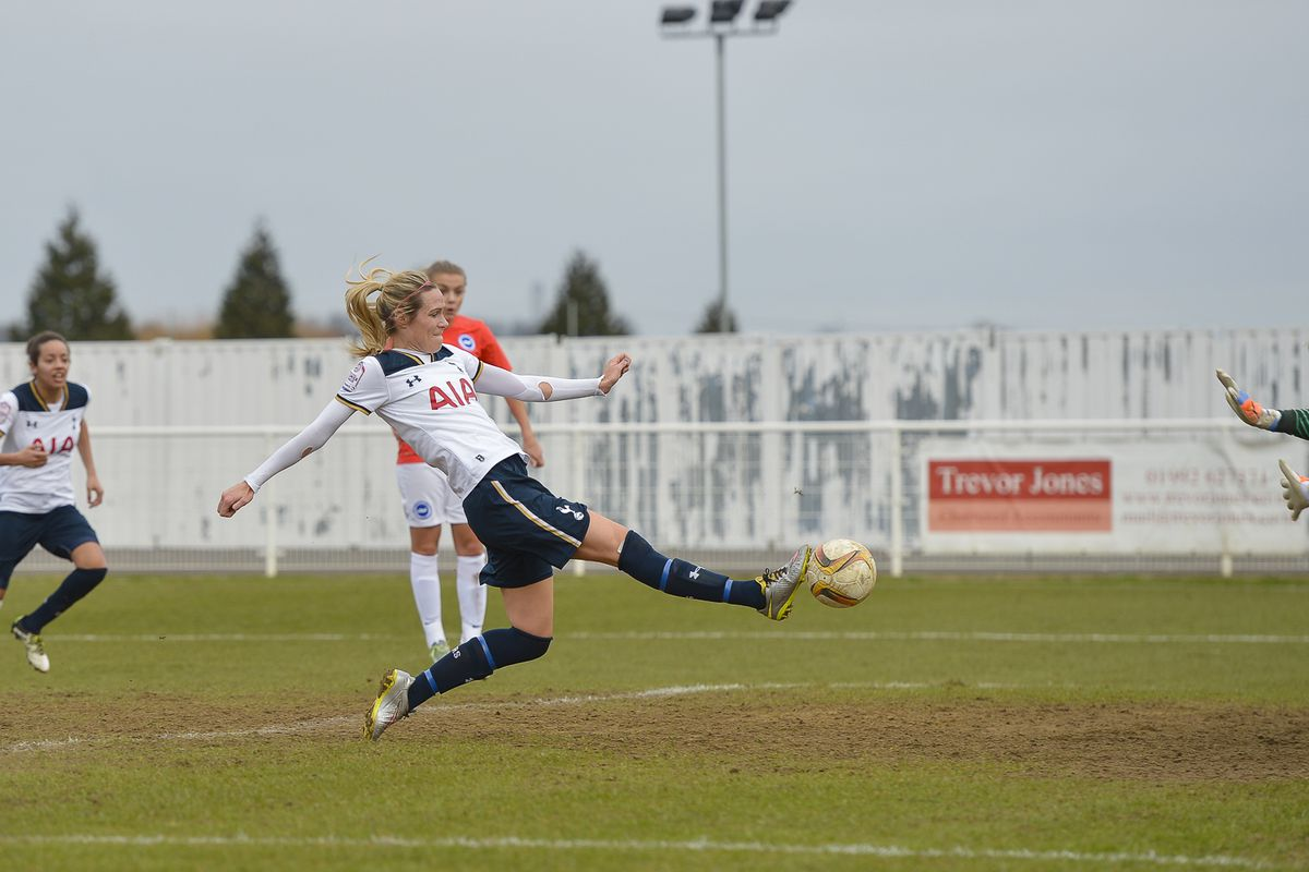 Tottenham Hotspur Ladies striker Wendy Martin strikes the ball during Spurs' 1-0 FA Cup win over Brighton & Hove Albion.