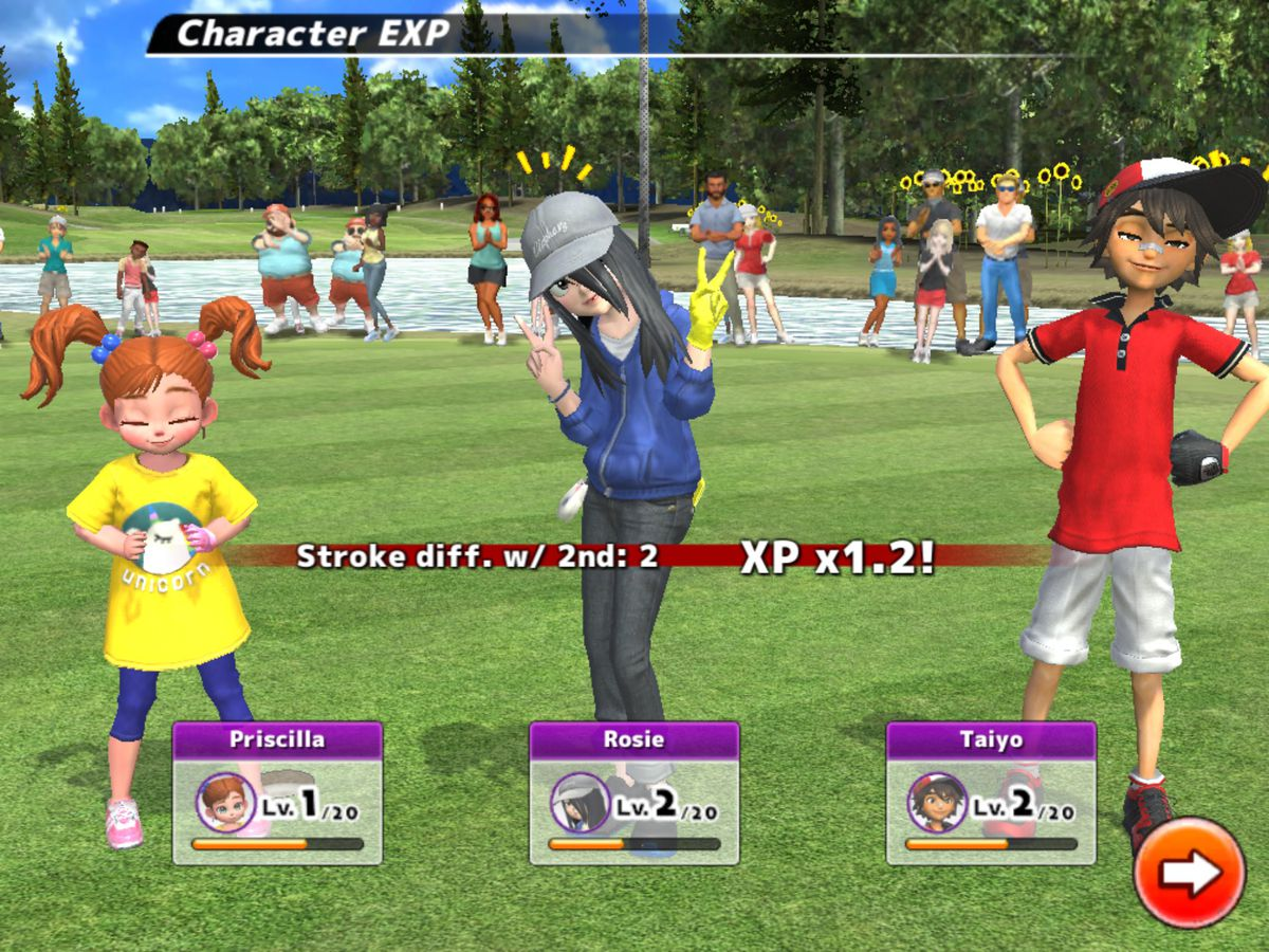 An end of round screen shows a little girl in pigtails, a teen with a cap and long hair over her eyes, and a smiling youngster with his hands on his hips.